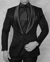 Alta Qualidade Um Botão Preto Paisley Noivo Smoking Xale Lapela Padrinhos Melhor Homem Ternos Mens Ternos de Casamento (Jaqueta + calça + colete + gravata) 389