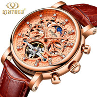 KINYUED Skeleton Automatic mechanical Watch Men Sun Moon Pha...