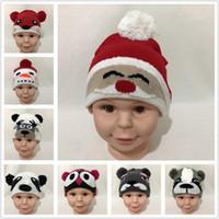 Baby Cartoon Dier Knit Caps Panda Bear Dog Fox Owl Deer Santa Claus Snowman Design Warme Kids Bont Bal Cap Zuigeling Winter Hoeden