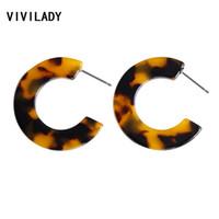 VIVILADY Trendy 3 cm Pequeno Rodada Brincos de Argola Mulheres Círculo Acrílico Ácido Acético Tartaruga Boho Leopardo Presentes Da Jóia Do Casamento