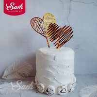 Gold Acrylic Striped Heart Cake Topper for Party Decoration ...