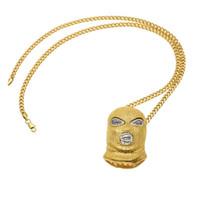Hip Hop CSGO colgante, collar, máscara, cabeza, collares, hombre, punky, estilo, collares, aleación, oro, plata, color, cadena