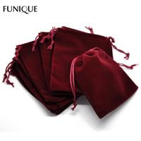 Funique Drawstring Bags 10st Mörkröd Velvet Pouch Bags Förvaringsväska till julbröllopsfest smycken Väskor 12x10cm