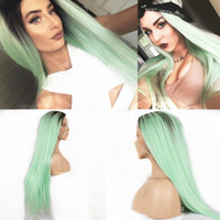 Hot Sexy Ombre Black to Green Long Straight Cosplay Wig Dark...