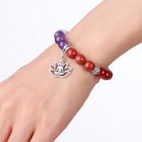 Йога 7 Chakkra Природный камень бисер браслет дерево обаяния Life браслеты женщин лоту мужской браслет ювелирной моды будут и песчаные
