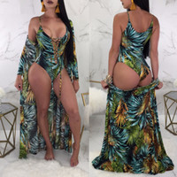 2PCS SET Beach Cover- Ups+ swimsuit set Sexy Print Leaves cove...