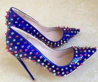 Women Pumps Red Bottom High Heels shoes Royal blue Colorful ...