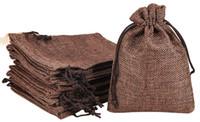 Kahverengi 7x9 cm 9x12 cm 13x18 cm 10x15 cm Mini Kılıfı Jüt Çanta Keten Kenevir Takı Hediye Kılıfı İpli Çanta Için Düğün Iyilik, Boncuk
