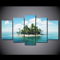 5 piece HD print wall art canvas painting tropical island po...