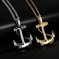Fashion personality anchor Necklace Pendant retro titanium g...