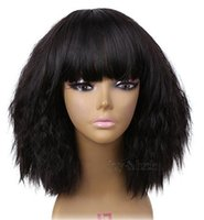 Free Shipping 12 inch Short kinky Straight with bangs Bob Wi...