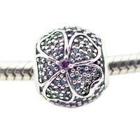 Glorious Bloom Multi-Colored CZ cuentas de plata para mujer DIY Jewelry Making encantos de plata Fit original 925 cadenas de plata Collar de pulsera