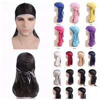 17colors Fashion Men Satin Durags Bandanna Turban Wigs Cap M...