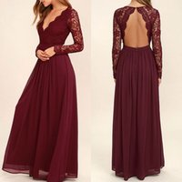 2019 Burgundy Chiffon Bridesmaid Dresses Long Sleeves Wester...