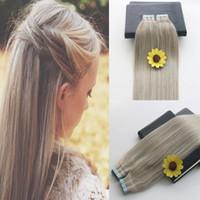 Klebeband in Echthaarverlängerungen 40pcs Pgrey / 613 Klavierfarbe Blond Brasilianisches Haar Hautschußband Haarverlängerungen 100g doppelt gezogenes Band in