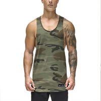 Casual Dos Homens Soltos de Fitness Tops de Camuflagem Verão de Secagem Rápida Sem Mangas Ativo Muscle Gymnasium Coletes Undershirt