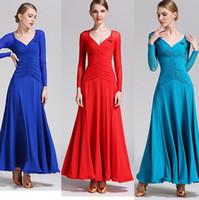 성인 / 여성 볼룸 댄스 복장 숙녀 모던 왈츠 표준 공모전 댄스 복장 고품질의 우유 실크 섹시한 V 칼라 드레스 6 색