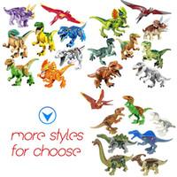 Dinozor yapı taşları serisi oyuncaklar çocuk bulmaca oyuncak montaj blok küçük parçacık yapı oyuncak OPP çanta ambalaj