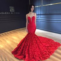 2019 Sexy Red Evening Dresses Spaghetti Sleeveless Mermaid Prom Gowns Back Zipper Sweep Train Custom Made Formal Party Gowns New Coming