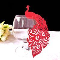 공작 레이저 컷 와인 글라스 카드 이름 장소 에스코트 컵 카드 웨딩 파티 장식 컵 카드