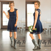 Cheap Custom Made Dark Navy Full Lace Country Bridesmaid Dre...