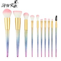 10pcs set Colorful Dull Polish Makeup Brushes Set Powder Eye...