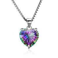 Luxe 925 Sterling Silver en forme de coeur pendentif arc-en-Cube zircone CZ pierres précieuses Charm Box chaînes pour femmes bijoux de mode