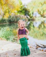 Vêtements pour enfants 2018 été Mermaid Bébés filles Vêtements Set Ceinture Paillettes Tops + Mermaid Tail Robe 2Pcs filles Set Vêtements enfant en bas âge Tenues Costume