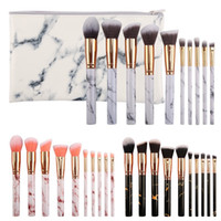 10 Pcs Marble Pattern Makeup Brushes Sets Synthetic Hair Kab...