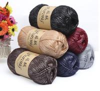 100g / ball del cotone di seta del filato per maglieria Crochet Needlework lana spessa Discussione filato per maglieria a mano Sciarpa Maglione Eco-friendly