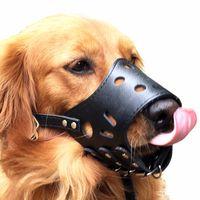 Couro ajustável Dog Focinho Anti Bark Mordida Chew cão produtos de treinamento para Small Medium Large Dogs Outdoor Pet Products S-XL