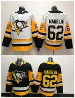 2018 New ANNUNCIO Pittsburgh Penguins 62 Carl Hagelin Jersey Nero Bianco autentico maglie cucite Hockey Ordine della miscela!