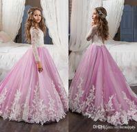 Spitze Blume Mädchen Kleider für Hochzeiten rosa langen Ärmeln eine Linie lange Festzug Kleider für Mädchen Kinder Prom Kleider