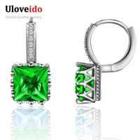 Uloveido Silver Color Cubic Zirconia Stud Earrings For Women...