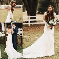 2019 Summer Boho Wedding Dresses With Long Sleeves Backless ...