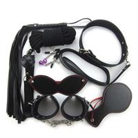 8pcs Kit Bondage Seil Set Kragen Whip Hand Knöchel Augenmaske Schwarz Fetisch Fesseln SM Sex Toys Y18102405