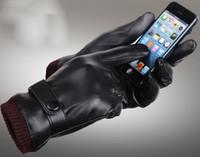 Мужские женские дизайнер PU кожаные перчатки зимние пять пальцев перчатки пальцев защищенный палец теплые сохраняя искусственной кожи перчатки