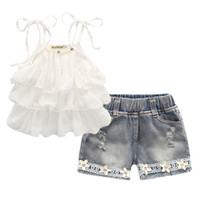 Summer Korean childrens clothing girls suit Chiffon cake sli...