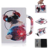 Etui Tablette Pour Huawei MediaPad T3-10 9.6 AGS-L09 AGS-L03 Poignée Rabattable Support Cuir Dessin Colorié Tigre Lion
