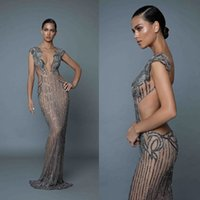 2019 Berta Sexy Evening Dresses Plunging V Neck Backless Cry...