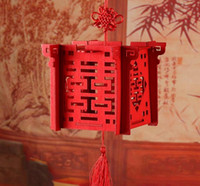 Linterna chino rojo láser de corte de madera caja del caramelo de la boda para la ducha de la novia doble felicidad Cajas de favor de la boda SN1375