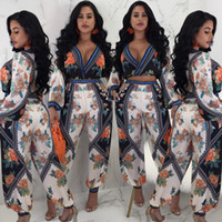 2018 New Summer Women Printed deep V- Neck top Trousers Two P...