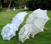 Estoque marfim Lace nupcial do casamento Parasol guarda-chuva de renda branca vitoriana Lady Costume acessório de festa de noivas decoração parasóis baratos