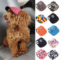 Brand Dog Hat With Ear Holes Summer Small Pet Canvas Cap Pup...