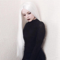 Cosplay Wig White Color Long Straight Synthetic Lace Front W...