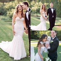 2018 Berta Sweetheart Mermaid Beach Abiti da sposa in pizzo Appliqued Tulle Abiti da sposa BA6679