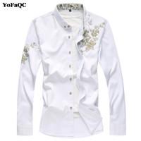 """YoFaQC Autunno Inverno Moda uomo camicia di buona qualità manica lunga Camisa Masculina Camicia stampa """"Fiore"""" da uomo in stile cinese"""