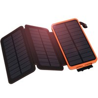 2018 Newest Solar Charger 10000mAh Solar Power Bank with 3 S...