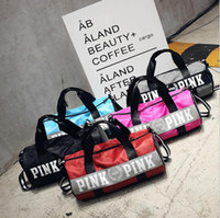 Women Handbags Pink Letter Large Capacity Travel Duffle Stri...