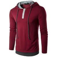 Ontwerper Heren Hooded Shirt Sling T-shirt Fake Twee Stukken Lange Mouw Tees Mannelijke Slanke Mannelijke Tops Mannen Casual Solid Color Stitching T-shirt